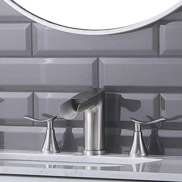 Hotis Brushed Nickel 2 Handles Waterfall Wide...