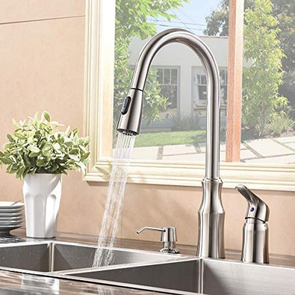 Hotis 3 Hole Kitchen Sink Faucet with Pull Do...