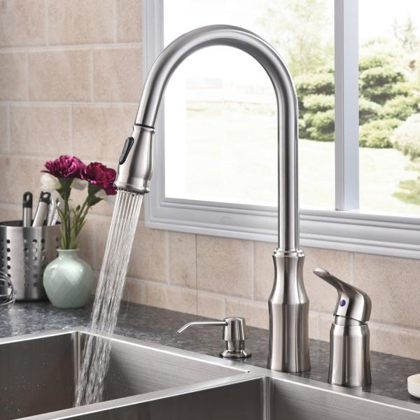 Hotis 3 Hole Single Handle Brushed Nickel Kitchen Sink Faucet, Kitchen Faucet Dispenser Stainless Steel with Pull Down S
