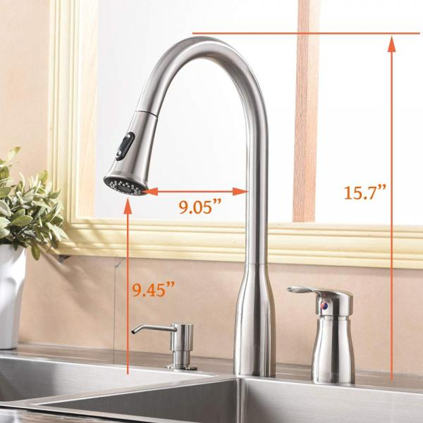 Hotis 3 Hole Single Handle Pull Down Bronze Kitchen Faucet, Kitchen Sink Faucet with Soap Dispenser