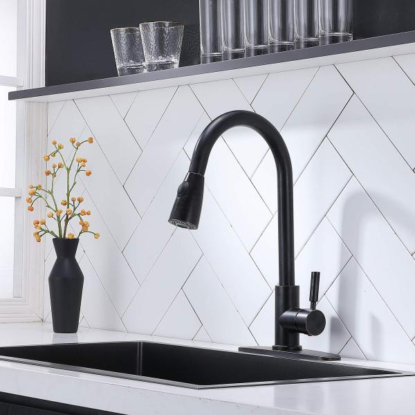 Black Kitchen Faucets with Pull Down Sprayer,Oil Rubbed Bronze Kitchen Faucet with Deck Plate