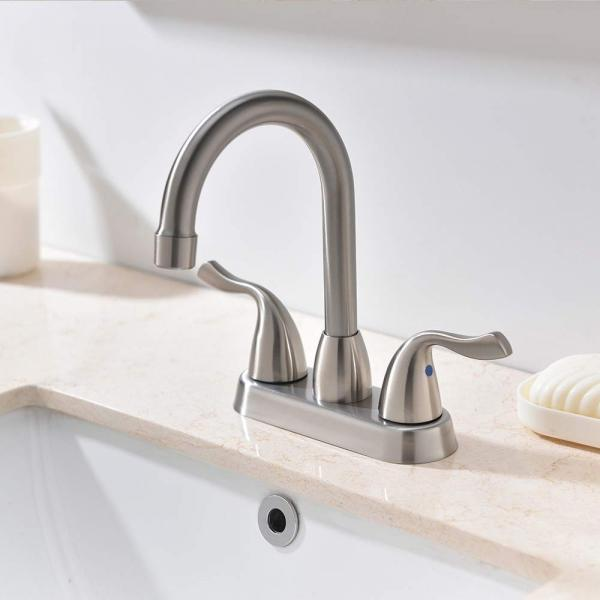 Hotis Commercial Two Handle Brushed Nickel Bathroom Faucet, Lavatory Bathroom Faucets with Water Supply Lines & Pop Up D