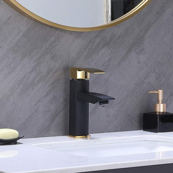 Hotis Commercial Matte Black with Gold Single Handle Bathroom Faucet,Laundry Vanity Sink Faucet Stainless Steel