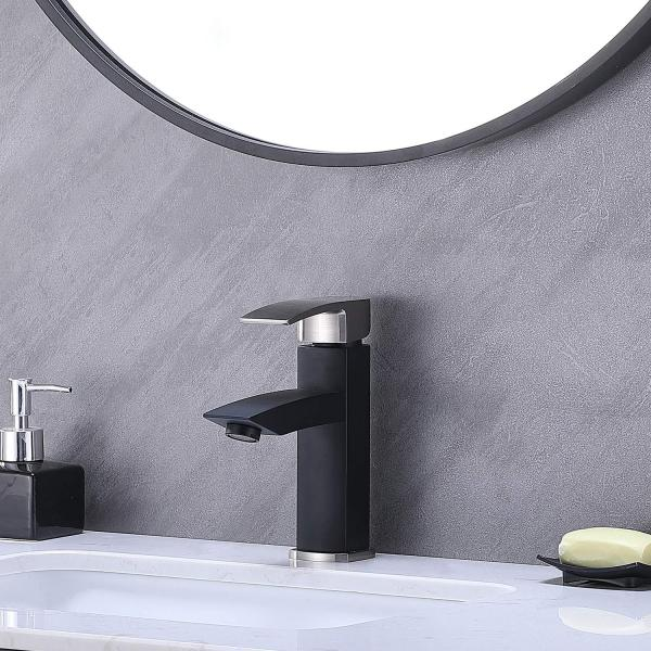 Hotis Commercial Matte Black with Brushed Nickel Single Handle Bathroom Faucet,Laundry Vanity Sink Faucet Stainless Stee