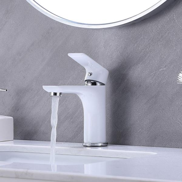 Hotis White Polished Chrome Single Handle Stainless Steel Bathroom Faucet, Bathroom Sink Faucet Lavatory Vanity